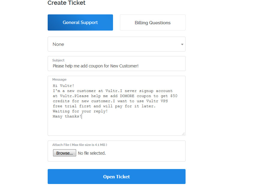 open-vultr-ticket-to-get-free-credits