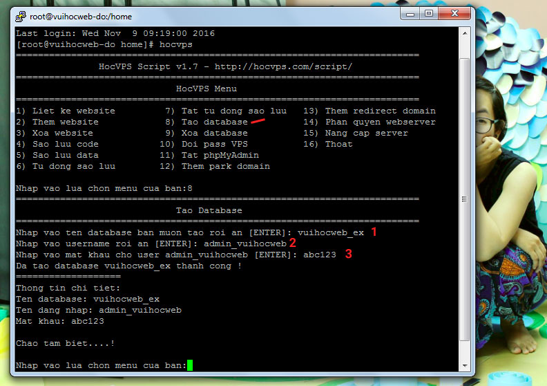 tạo database để cài wordpress