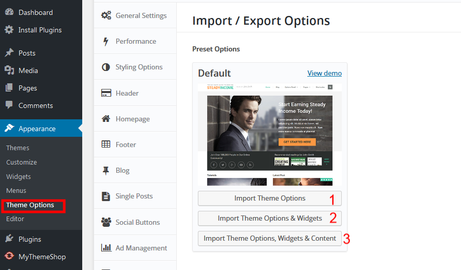 Import Demo SteadyIncome