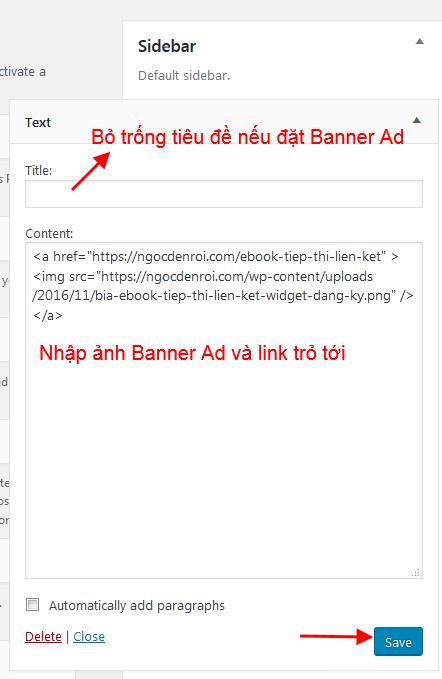 Tạo Banner quảng cáo bằng Text Widget