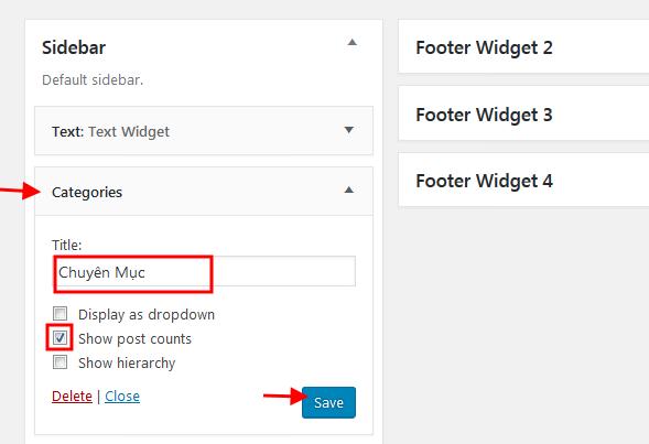 Tạo Categories Widget