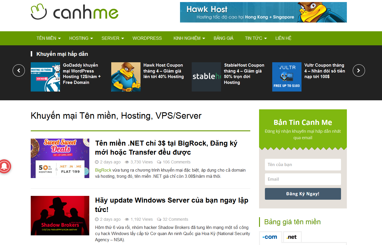 Canhme.com dùng theme gì?