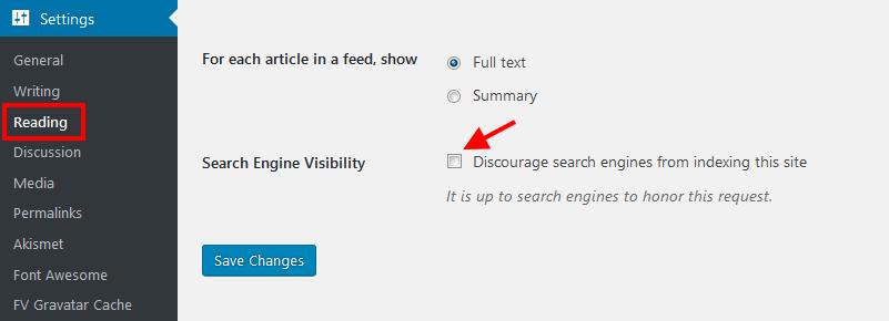 Bật tính năng Index để google bắt đầu index nội dung