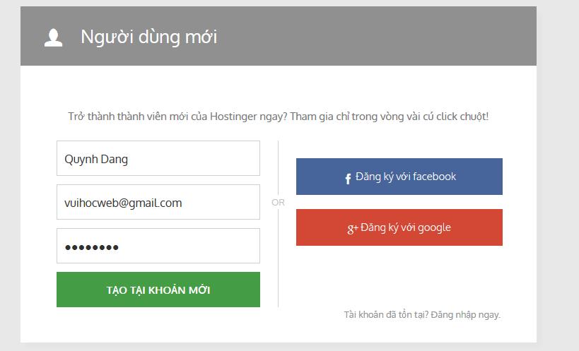 Nhập email đăng ký tài khoản free hosting của Hostinger