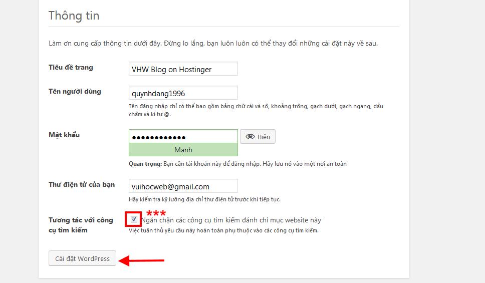 Nhập thông tin blog kiếm tiền trên Hostinger