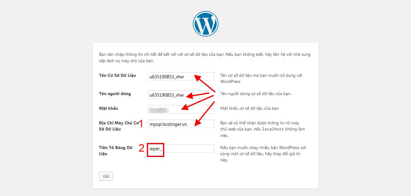 Nhập thông tin database để cài WordPress tiếng Việt