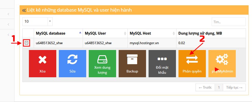 Phân quyền User sử dụng Database vừa tạo trên Hostinger