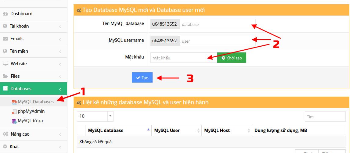 Tạo database để cài đặt WordPress tiếng Việt trên Hostinger