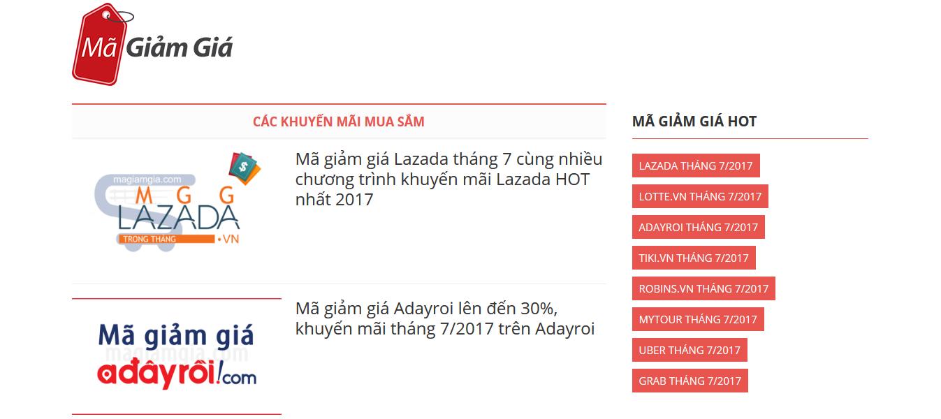 Magiamgia.com là coupon blog kiếm tiền online bằng Affiliate Marketing