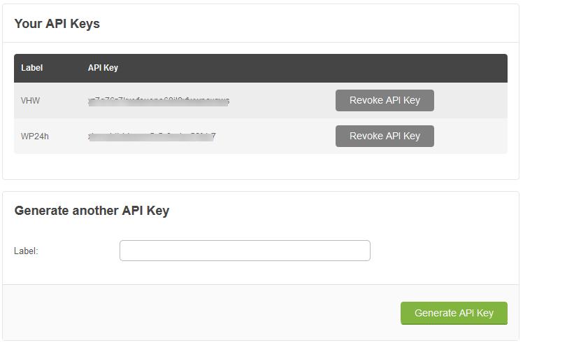 Tạo API key để kết nối theme ở VHW