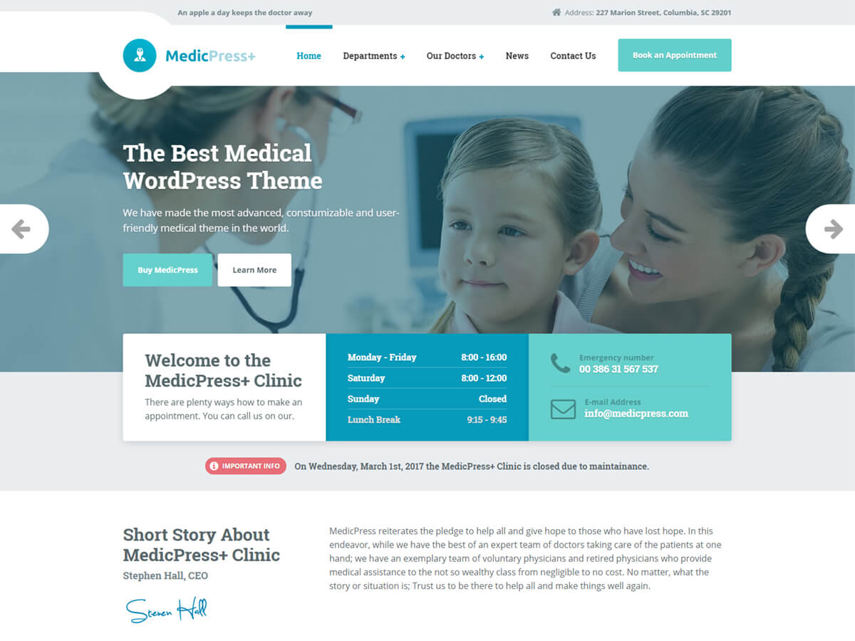 MedicPress - Doctor, Clinic & Hospital Theme