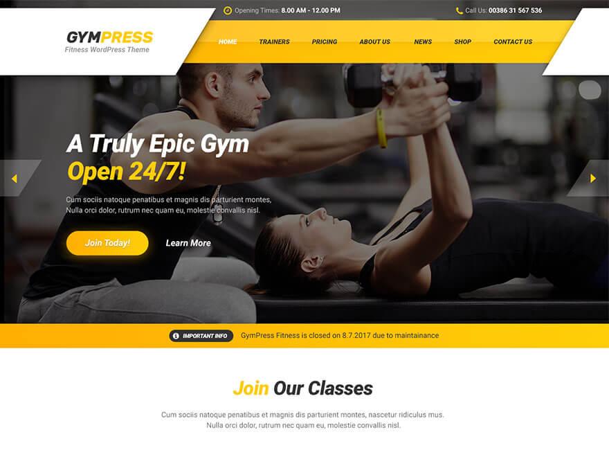GymPress có thiết kế rất năng động và mạnh mẽ, đầy đủ các chức năng để bạn làm trang web giới thiệu phòng tập Gym