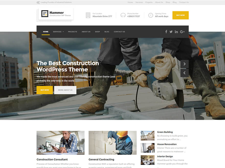 Hammer là theme dành cho các công ty dịch vụ xây dựng