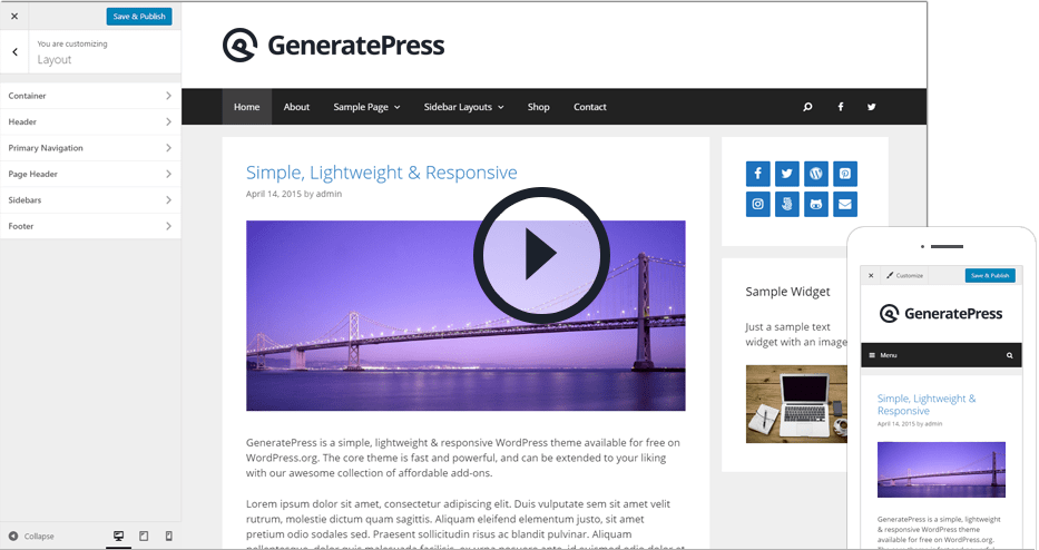 GeneratePress is extremely light and standard SEO