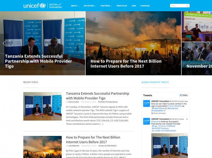 Blog của UNICEF dùng theme Compass của WPZoom