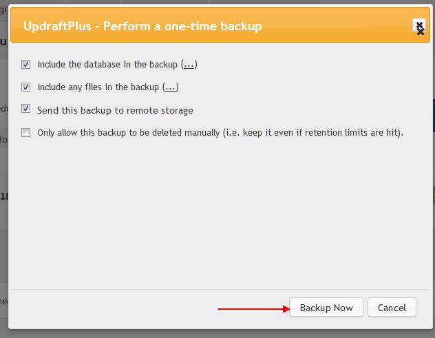 Chọn files để Backup