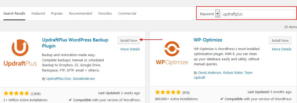 Backup WordPress tự động bằng UpdraftPlus