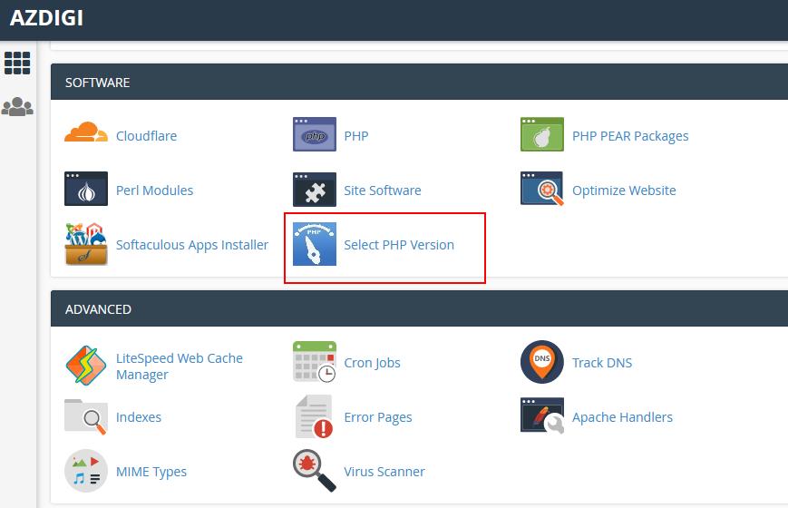 Chọn PHP version và bật tắt Extension & tùy chỉnh các Options.