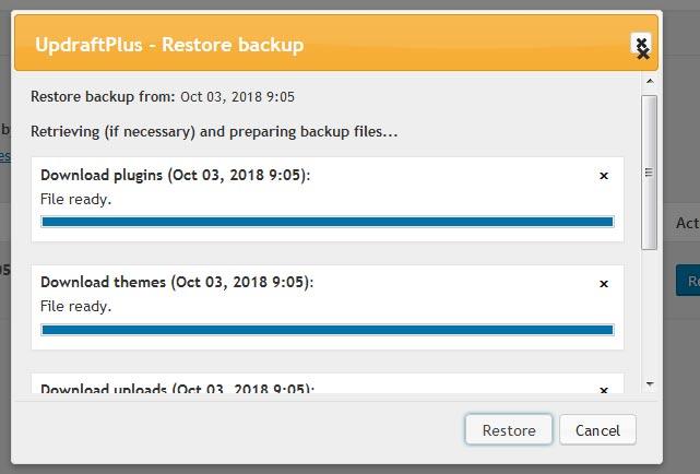 Tải file backup về Hosting