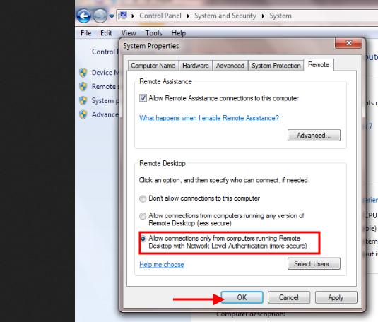 Allow Remote Desktop - bảo mật