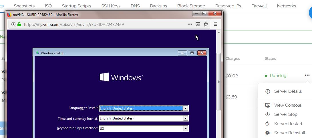 Cài Windows trên giao diện Console VPS Vultr