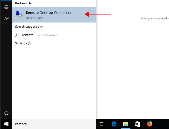 Mở Remote Desktop Connection trên Windows 10