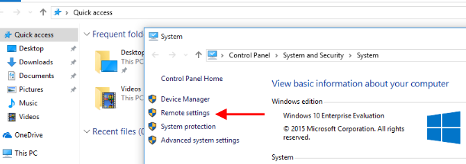 Remote settings trên Windows 10