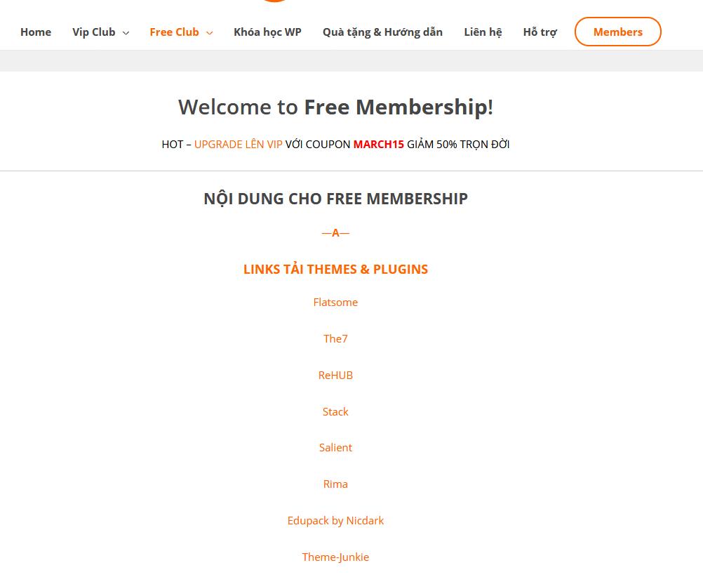 Free Membership Area - WPbanquyen