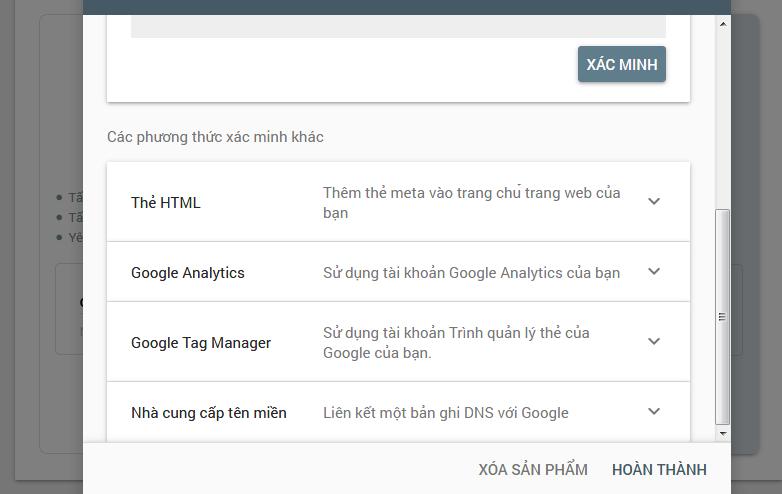 Các phương pháp xác minh sở hữu Website trên Google WebmasterTool
