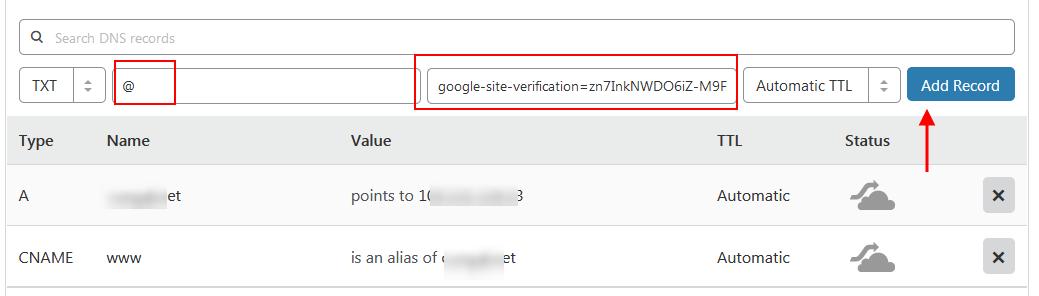 Cách tạo TXT Record trên DNS Settings