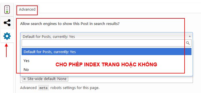 Cho phép Index Page hoặc không trong Yoast SEO