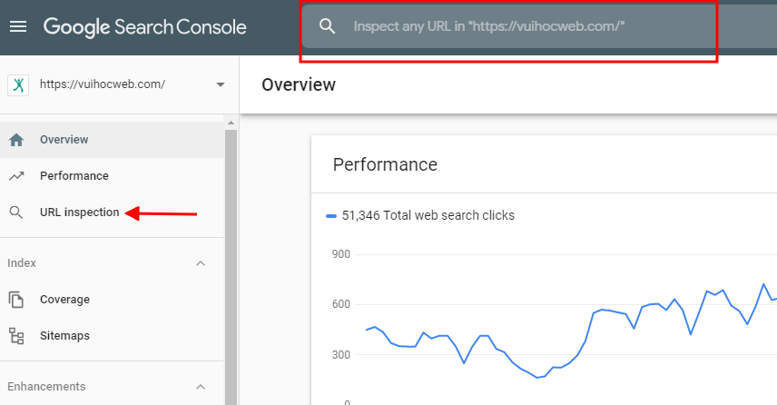 Giao diện New Search Console