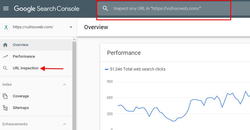Cách để Google Index nhanh trong 5 phút (mới nhất): Giao diện New Search Console