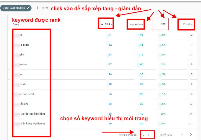 Hướng dấn sắp xếp keyword ranking trong Google Search Console