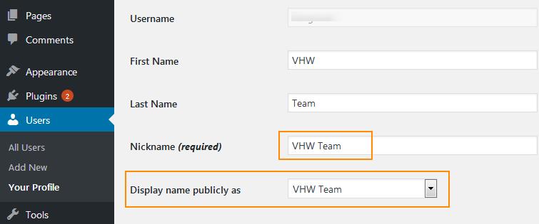 Hiển thị Nickname thay vì username