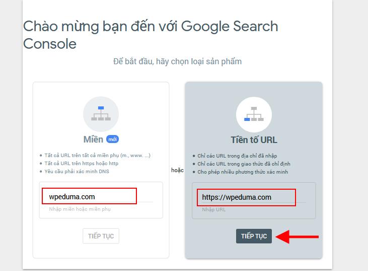 Khai báo tên Website và URL với WebmasterTool Google Search console