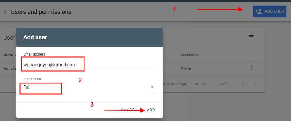Tạo User và phân quyền trong Google Search Console