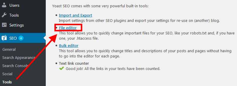 Yoast SEO helps create and edit robots.txt and .htacess files