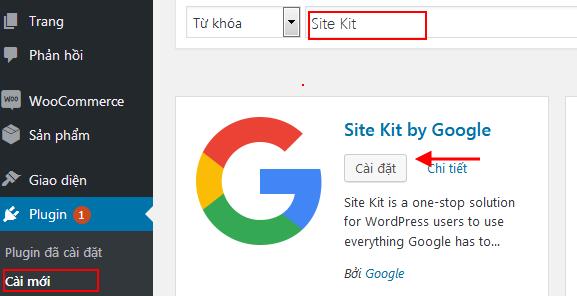 Cài đặt Google Site Kit
