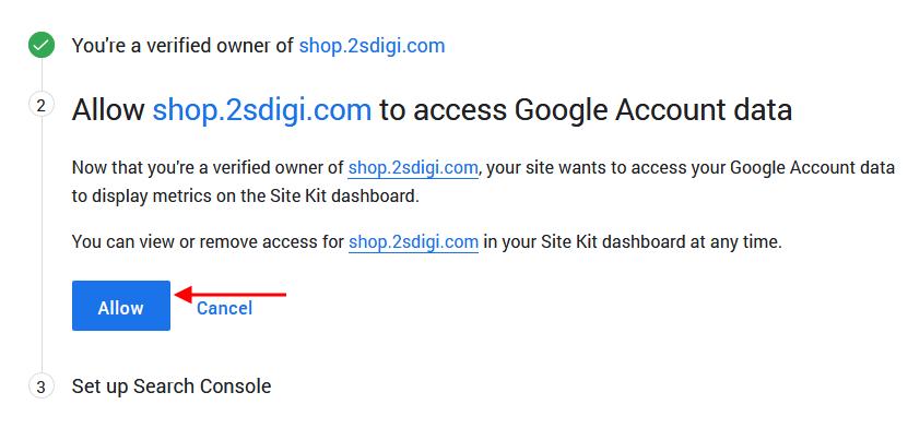 Cho phép Website truy cập dữ liệu Google Tools qua Site Kit