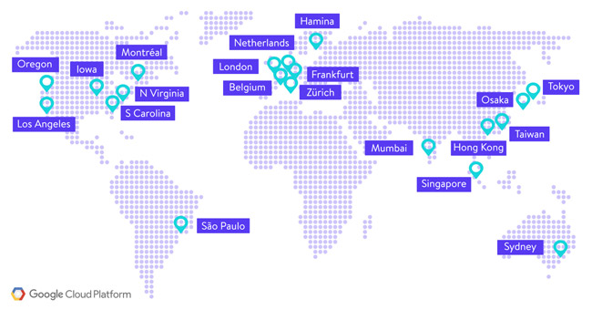 Google's datacenter is located around the world
