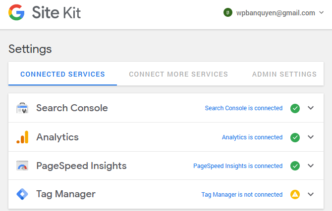 Google Site Kit interface