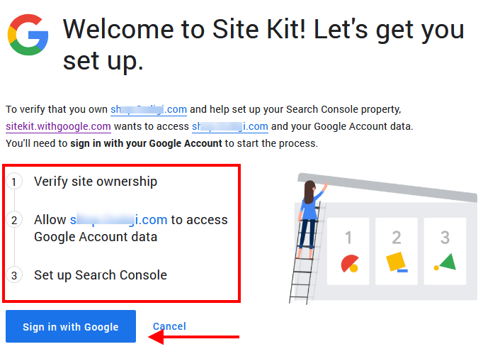 Google Site Kit Authentication