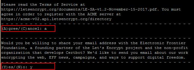 Chấp nhận điều khoản Lets Encrypt