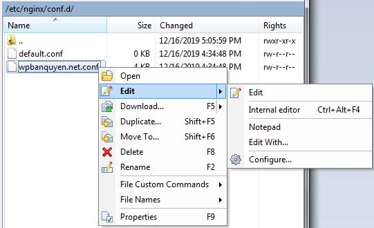 Edit file cấu hình nginx