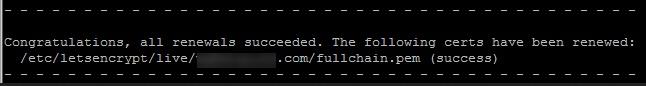 Gia hạn thành công Lets Encrypt SSL
