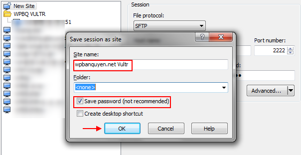 Lưu thông tin login VPS trên WinSCP