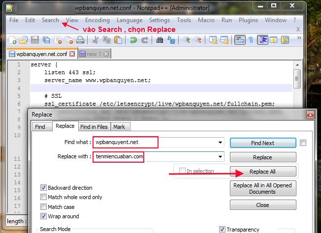 Replace file cấu hình nginx mẫu